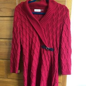 Thick maroon sweater dress